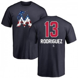 Men's Sean Rodriguez Miami Marlins Name and Number Banner Wave T-Shirt - Navy