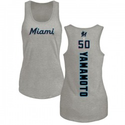 Women's Jordan Yamamoto Miami Marlins Backer Tri-Blend Tank Top - Ash