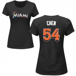 Women's Wei-Yin Chen Miami Marlins Roster Name & Number T-Shirt - Black