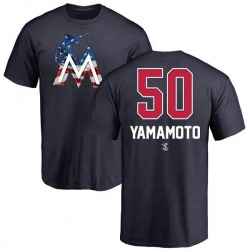 Youth Jordan Yamamoto Miami Marlins Name and Number Banner Wave T-Shirt - Navy